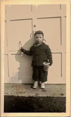 Vintage Antique Photograph Adorable Little Boy With Pail Standing by Garage Door