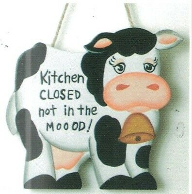 4x4 Funny Country wood COW KITCHEN CLOSED NOT MOOD wall home decor plaque Sign