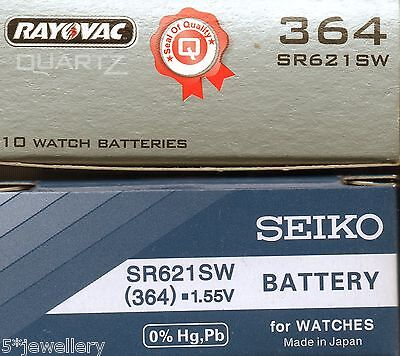 New SEIKO or RAYOVAC watch battery 364 SR621SW With fitting instructions