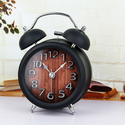Retro Metal Analog Twin Bell Alarm Clock Battery Powered Nightlight Clock G
