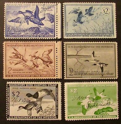 RW19 to RW24 - 1952 to 1957 Federal Duck Stamps - Used