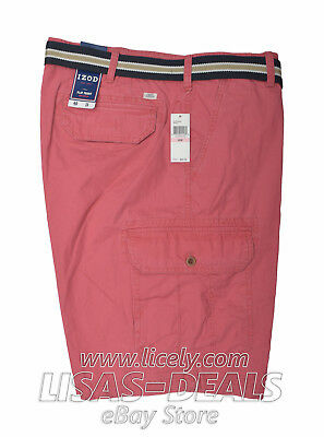 New Mens IZOD Cargo Shorts Belted Flat Front Blue Pink Khaki Gray 34 36 38 40