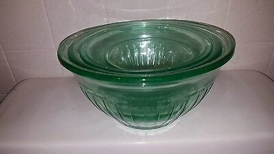 Four Green  Depression Glass Nesting Bowls