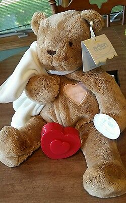 NEW 2004 Eden Tender Tones plush Bear Security Blanket Brown heartbeat heart RC2