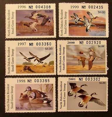 1996 to 2001 North Dakota Resident Small Game Stamps - Mint NH Full Gum