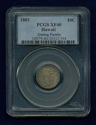 Hawaii King Kalakaua I  1883 Dime / 10 Cents Silver Coin, Certified By Pcgs Xf40