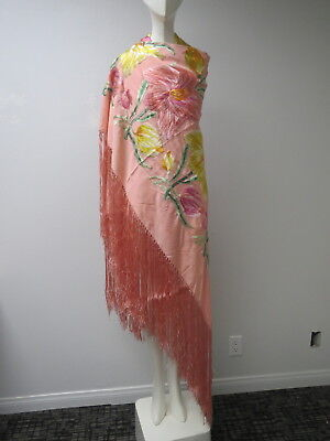 Vtg Chinese Silk Embroidered Shawl Long Fringe Pink Ground Pastel Colored Flower