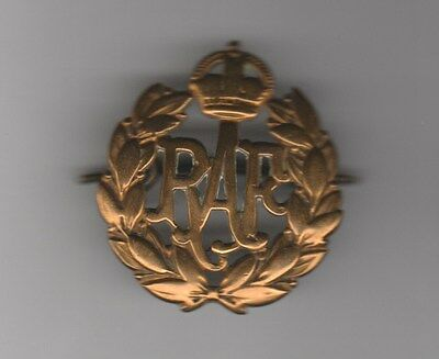 RAF Royal Air force Brass Cap Badge Pre WW2 circa Great Replacement Die Stamped