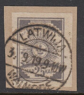 LATVIA 1919 25k ARMS imperforate on pelure paper, USED