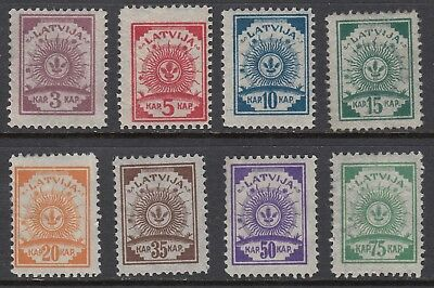 LATVIA 1919 ARMS on Pelure paper, perforated, set of 8, Mint Never Hinged