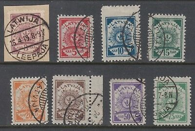 LATVIA 1919 ARMS on Pelure paper, perforated, set of 8, USED