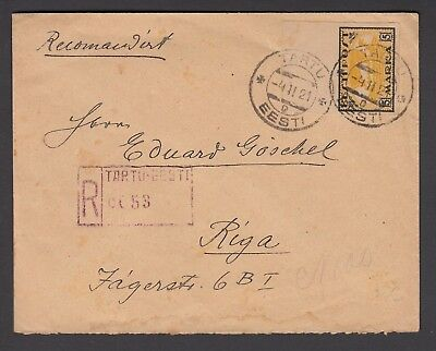 Estonia 1921 Registered Cover To Riga