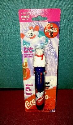 Coca Cola Bear Collectible 10 Color Ball Pen 1997 New in Package