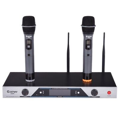 Home Audio 2*200 Channel UHF Wireless Hand Held Microphone Mic with LCD Display