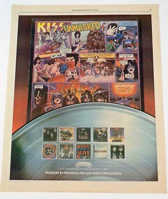 1980 KISS Unmasked Album Cartoon Art Casablanca Records Print Ad Rolling Stone