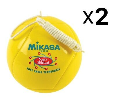 Mikasa Soft Shell Tetherball, Cushioned Cover Tether Ball Yellow (2-Pack)