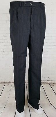 Vtg Black Pinstripe Pleated Tapered Trousers Turn Ups 80s 40s 50s 34/32 EJ45