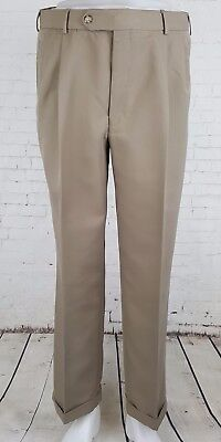 Vtg Khaki Pleated Tapered Levis Dockers Trousers Turn Ups 90s 40s 50s 34/29 EJ46