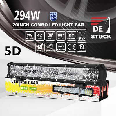 20inch 294W Philips LED Work Light Bar Spot Flood Combo Driving Jeep Truck