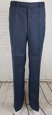 Vtg Blue Pinstripe Tapered Leg 1960s Smart Wool Blend Trousers 34/31 EJ51