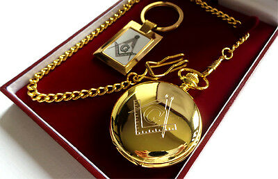 Masonic Freemason  GOLD Luxury Hunter POCKET WATCH & KEYRING Gift Set Case