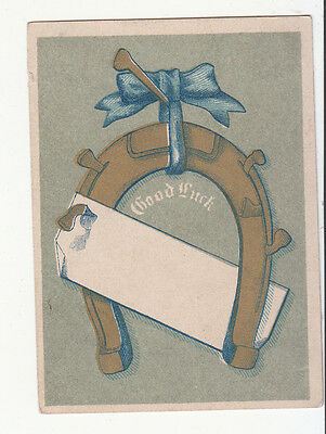 Good Luck Gold Horseshoe Blue Bow Blank Tag  Vict Card c 1880s
