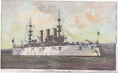 U S Armored Cruiser New York Litho From J S Johnston Photo  Victorian c 1890s