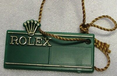 """Rolex Label, """"rolex On Both Sides"""" Green Plastic With String, Genuine & Nice"""