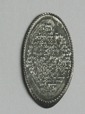 """""""The Lord's Prayer"""" Religious Elongated Penny/Rolled on 1943-P Steel Wheat Cent"""