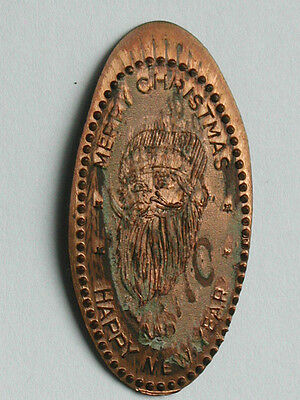 Merry Christmas Happy New Year Elongated Penny/Rolled Wheat Cent w/ Santa Claus