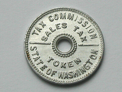 State of Washington Tax Commission 1930's Aluminum Sales Tax Token w/Center Hole