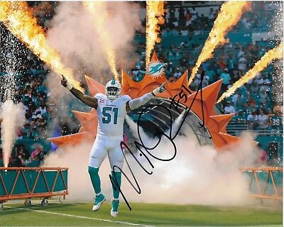 """MIKE POUNCEY AUTOGRAPH NFL MIAMI DOLPHINS HAND SIGNED """"10x8 PHOTO FLORIDA GATORS"""