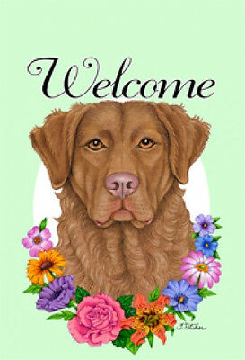 Large Indoor/Outdoor Welcome Flag (Flowers) - Chesapeake Bay Retriever 63070
