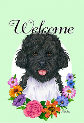 Large Indoor/Outdoor Welcome Flag (Flowers) - Portuguese Water Dog 63120