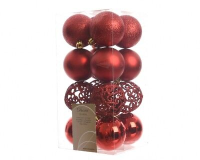 Decoris Pack Of 16 Mixed 60mm Shatterproof Christmas Tree Baubles Glitter- Red