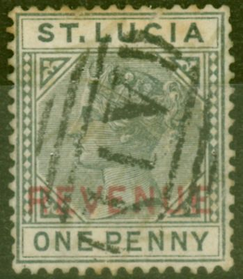 St Lucia 1884 1d Slate SGF27 Ave Used with additional reduced manuscript