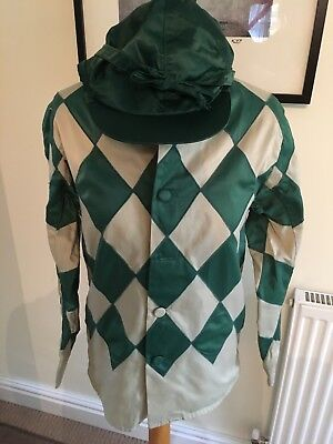 Horse RACING Jockey SILKS - COLOURS - GREEN DIAMONDS