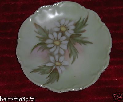 Vtg Floral Dish White Daisy Flowers Jewelry Plate Signed M. Greene 6/73