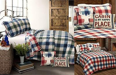 RED WHITE BLUE CHECKS 5pc Full Queen QUILT SET : COUNTRY GREEN PLAID LODGE CABIN