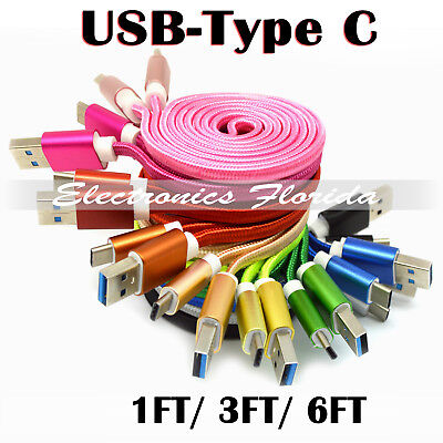 FLAT Nylon Braided (Type C) Data & Sync Charger Charging Cable Cord - LOT