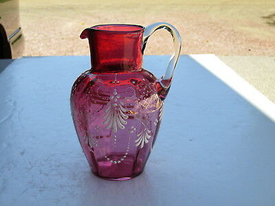 """Quality Antique Enamel Hand Decorated Cranberry Glass Hand Blown 6"""" Pitcher"""