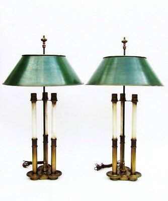 Pair of Vintage French Bouilotte Brass Stiffel 3 Way Table Lamps w/ Metal Shades