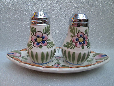 Beautiful Floral Delft Pottery Cruet Set Salt and Pepper and Tray