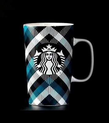 Starbucks Blue Plaid Mug, 16 fl oz/Red Gift Box