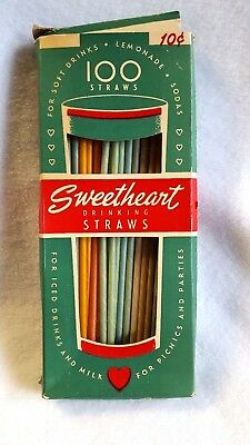 Vintage Drinking Straws Sweetheart Paper Multi Color Partial Box