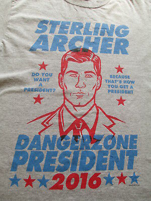 Sterling Archer President Gray Blue Red T Shirt Size S Small M Medium