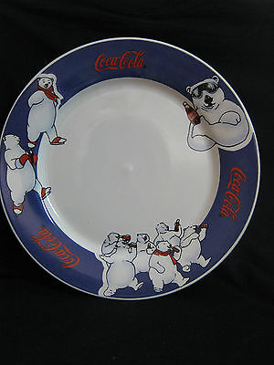 coca cola: a  ceramic  plate, decorated with POLAR BEARS drawings 90's.