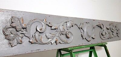 "SHABBY HAND CARVED WOOD PEDIMENT 46"" ANTIQUE FRENCH ARCHITECTURAL SALVAGE 19th"