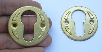 Lot 2 Stamped Brass Keyhole Cover Escutcheon UNUSED Free Shipping