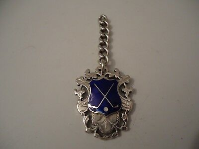 Heavy Antique Victorian Silver Golf Fob Medal & Small Chain 1896. Uninscribed!